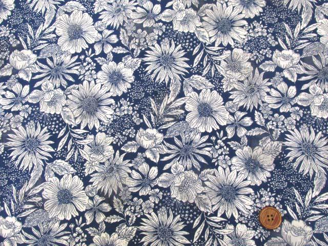 画像2: オーガンジー フラワー・花柄 オパール加工 80ローン生地 (ネイビー)