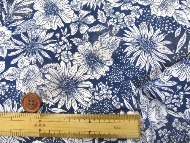 画像3: オーガンジー フラワー・花柄 オパール加工 80ローン生地 (ネイビー)