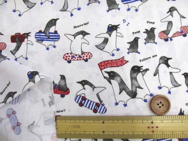画像3: ペンギン・スケートボード柄 シーチング生地 (オフ)