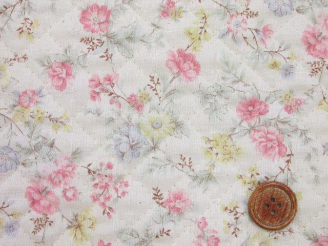 画像1: ふんわりガーデン・フラワー・花柄 スケア生地 (ピンク) 全針キルト