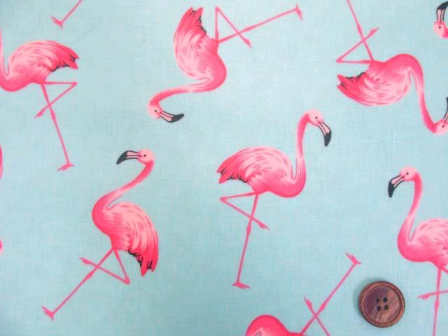 画像1: フラミンゴ・鳥柄 ブロード生地 (ミントブルー) ラミネート (つや消し)