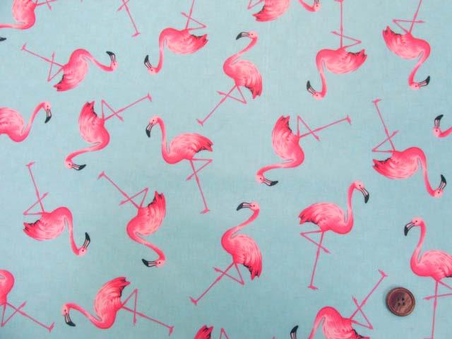 画像2: フラミンゴ・鳥柄 ブロード生地 (ミントブルー) ラミネート (つや消し)