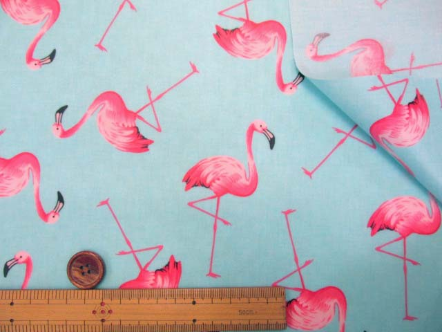 画像3: フラミンゴ・鳥柄 ブロード生地 (ミントブルー) ラミネート (つや消し)