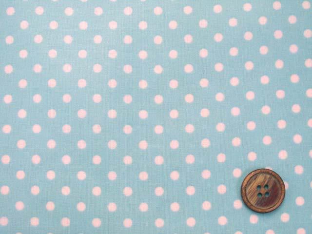 画像1: 4mm ドット 白の水玉 (ブルー地)【 カラー 5 】シーチング生地 ラミネート はぎれ60cm↑