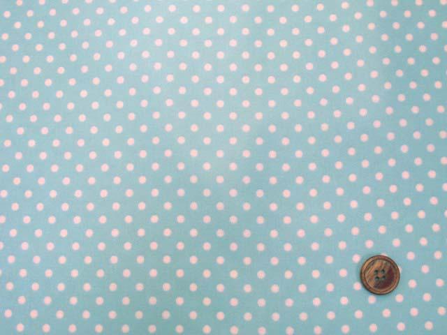 画像2: 4mm ドット 白の水玉 (ブルー地)【 カラー 5 】シーチング生地 ラミネート はぎれ60cm↑