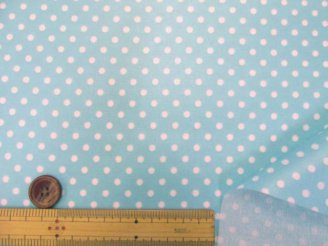画像3: 4mm ドット 白の水玉 (ブルー地)【 カラー 5 】シーチング生地 ラミネート はぎれ60cm↑