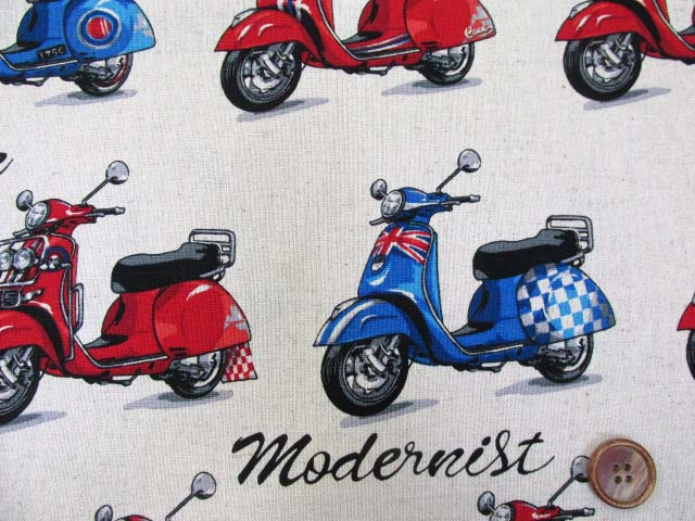 画像1: 綿麻キャンバス スクーター・バイク柄