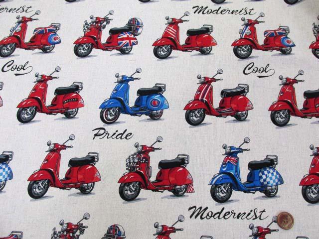 画像2: 綿麻キャンバス スクーター・バイク柄
