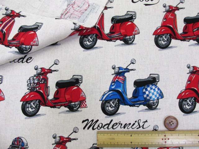 画像3: 綿麻キャンバス スクーター・バイク柄