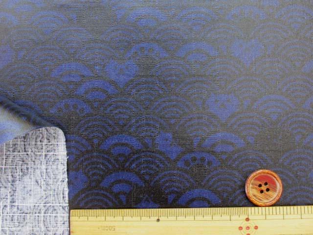 画像3: ▼訳あり 和柄 ネコちゃんと波柄 ドビー生地(ブルー) ラミネート はぎれ20cm