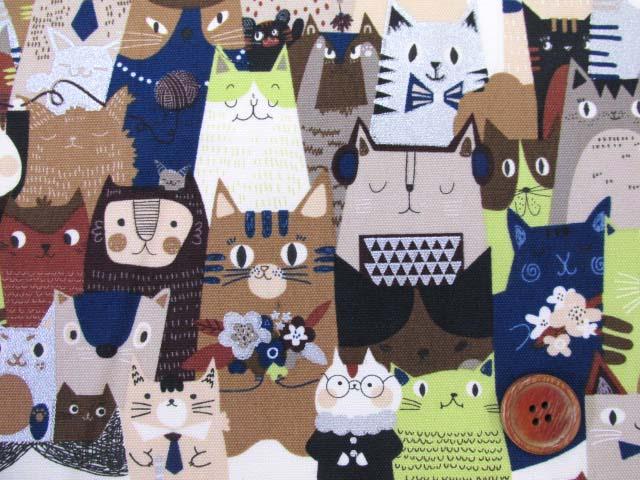 画像1: キャットパーティー・猫柄 シルバーラメ入り オックス生地