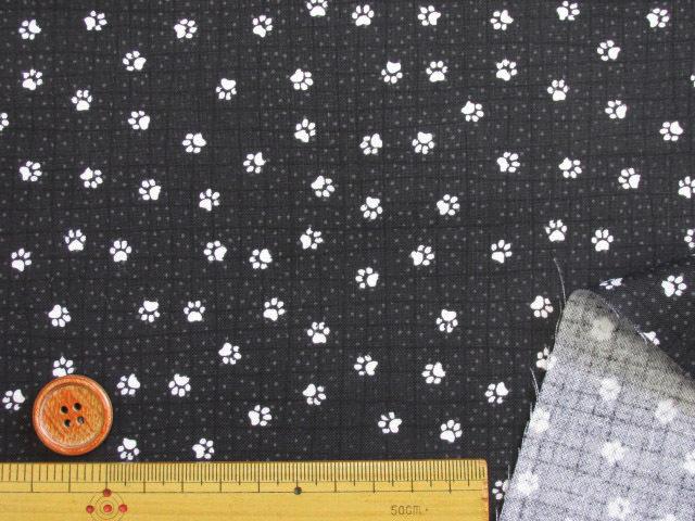 画像3: 現品限り お買い得!! USAコットン 小柄・犬の足跡・肉球柄 シーチング生地 (ブラック)