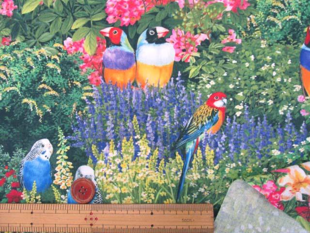 画像3: さららシリーズ インコとお花畑柄 インクジェットプリント シーチング生地