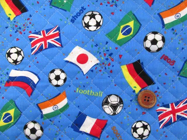 画像1: サッカー・国旗柄 CB生地 (ブルー)  全針キルト