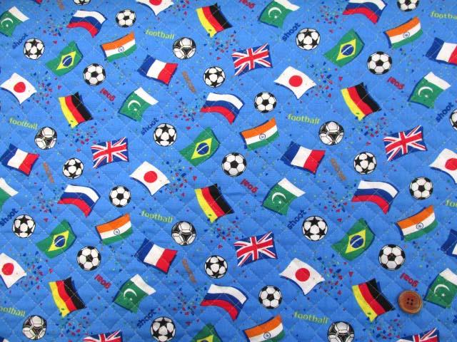 画像2: サッカー・国旗柄 CB生地 (ブルー)  全針キルト