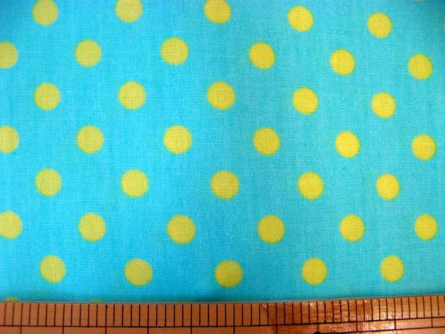 画像1: ブルー地に黄色のドット柄(7mm)ブロード生地