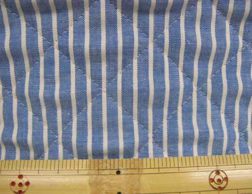 画像1: 綿ダンガリー 生成のストライプ(ブルー地) キルティング