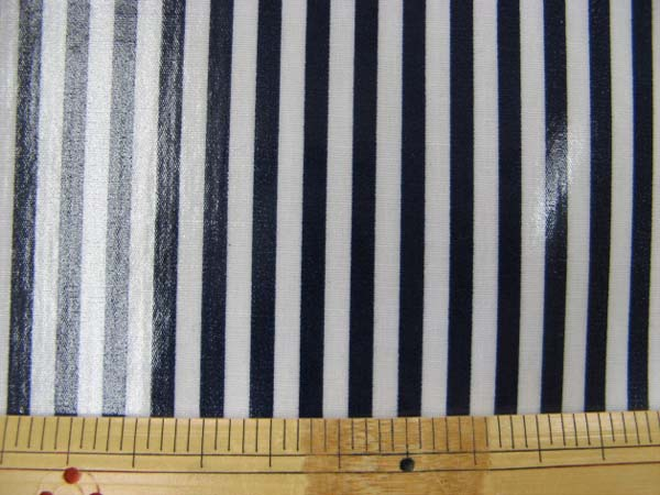 画像1: 定番 ストライプ【中】柄 ブロード生地(紺)ラミネート はぎれ60cm↑